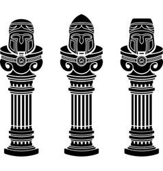 pedestals of medieval helmets vector image
