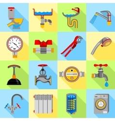 Plumber symbols icons set flat style vector image