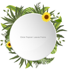 Print circle tropical leaves frame vector