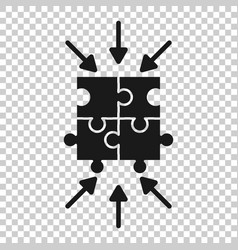 Puzzle jigsaw icon in flat style solution vector
