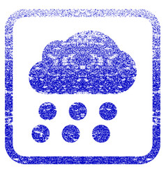 Rain cloud framed textured icon vector