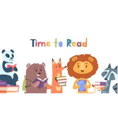 Reading animals wild animal with books lion fox vector