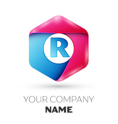 Realistic letter r in colorful hexagonal vector