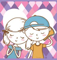 Romantic love couple cute portrait background vector