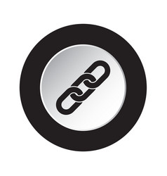 round black white button icon - hanging chain vector image