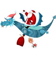 santa and dragon vector image