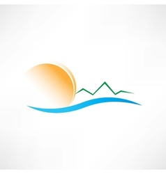seascape at sunrise icon vector image