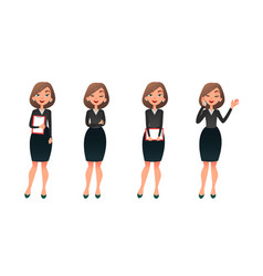 Set character businesswoman in various poses vector
