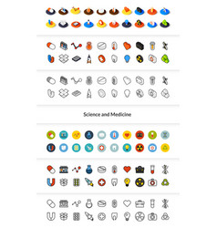 Set of icons in different style - isometric flat vector