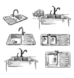 Set of kitchen sinks vector image