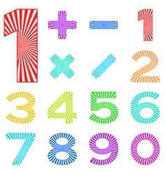 set of numbers with radiant pattern vector image