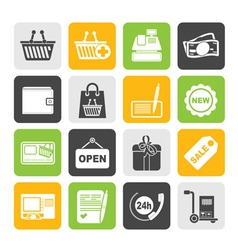Silhouette shopping and retail icons vector image