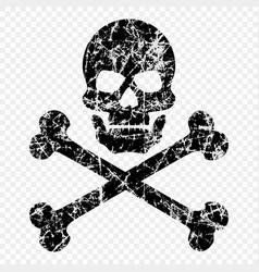 Skull with bones scratched worn skull pirates vector