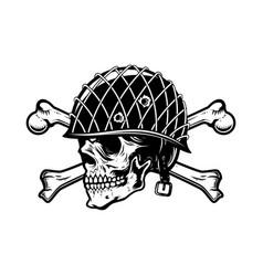 Soldier skull in military helmet with crossed vector