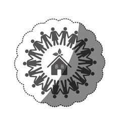 Sticker monochrome silhouette teamwork human vector