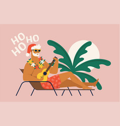 summer holiday vacation with santa claus flat vector image