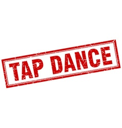 Tap dance red square grunge stamp on white vector