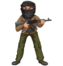 Terrorist with mask and gun vector