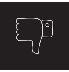 Thumbs down sketch icon vector image