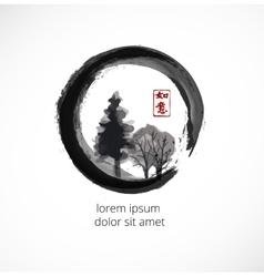 Trees in black enso zen circle vector