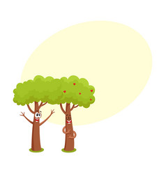 Two funny tree characters hugging showing love vector