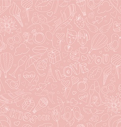 Valentines Day pattern Sketch style vector image