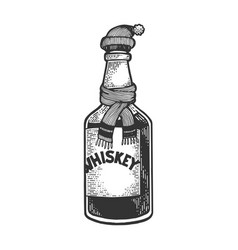 whiskey in hat and scarf sketch engraving vector image