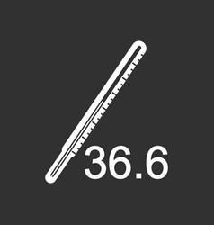 White icon on black background body thermometer vector