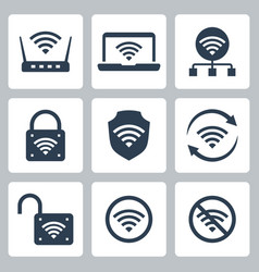 wifi related icon set in glyph style 2 vector image