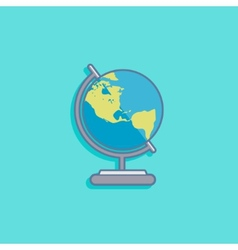 With earth globe in flat style design vector