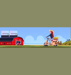 woman riding scooter or motorcycle with corn in vector image