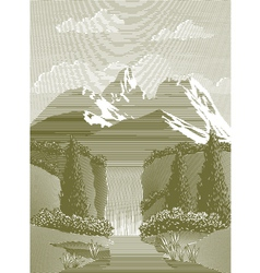 Woodcut Waterfall vector image