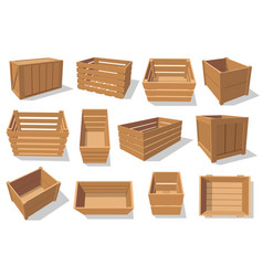 Wooden crate box and wood containers vector