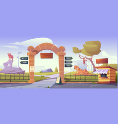 zoo gates with pointers to wild animals cages vector image