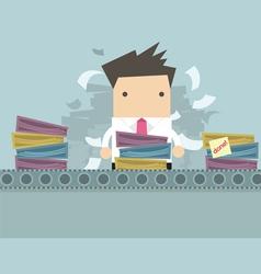 Businessman working Like factory work vector image