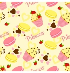 Candy princess pattern with cupcake and heart vector image vector image