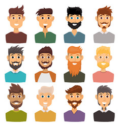 character of various expressions bearded man face vector image