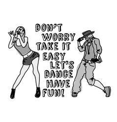 Dancing girl positive sign gray scale vector image vector image