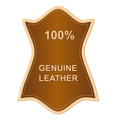 genuine leather label vector image vector image