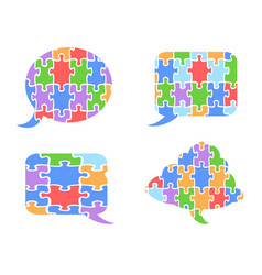 puzzle speech bubbles vector image vector image