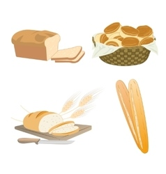 Set of cartoon food bread vector image vector image