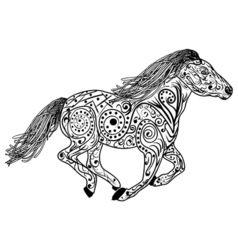 Hand drawn horse Isolated on white anti stress vector image vector image