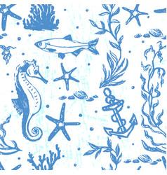 ink hand drawn marine world seamless pattern vector image