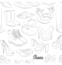 Shoes scetch pattern vector