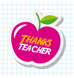 thanks teacher card big pink apple celebration vector image
