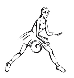 The athlete playing tennis vector image vector image