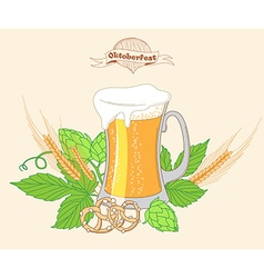 Vintage poster or greeting card for Beer festival vector image