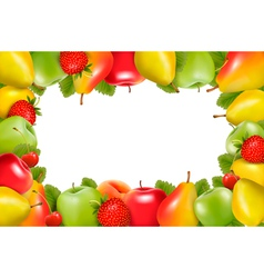 Frame made of fresh juicy fruit vector image