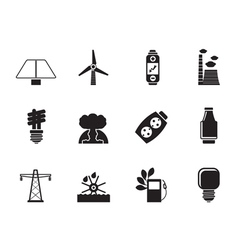 Silhouette energy and electricity icons vector image vector image