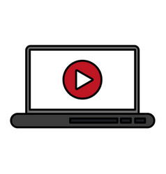 video play icon on laptop screen icon image vector image